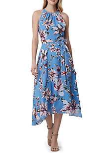 Tahari ASL Halter Chiffon Floral Dress