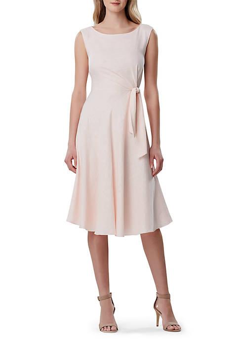 Sleeveless Linen Tie Waist Dress