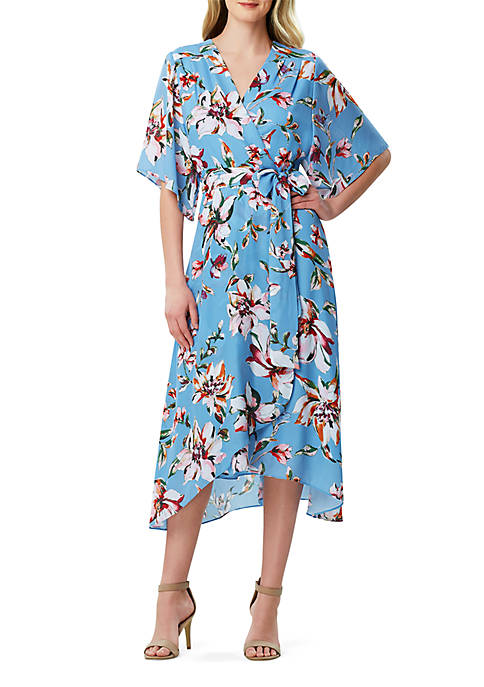 Tahari ASL Printed Wrap Midi Dress
