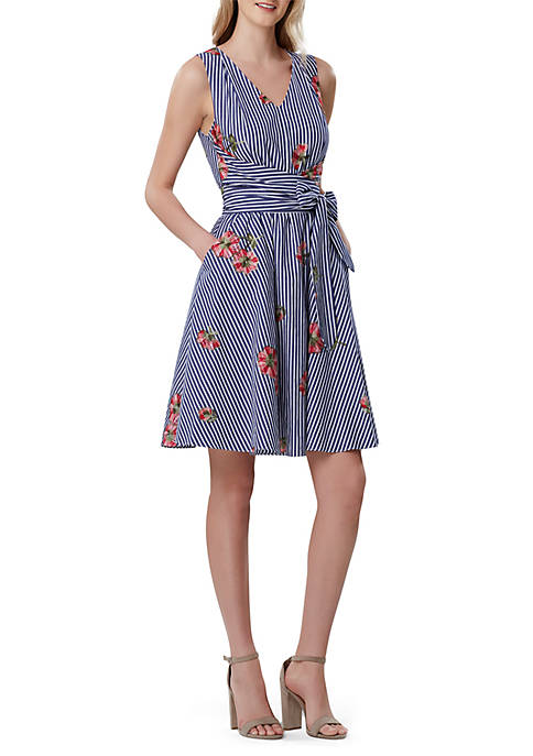 Sleeveless Floral Striped Fit and Flare Dress