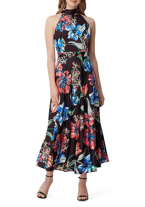 Sleeveless High Neck Printed Maxi Dress