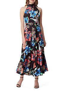 Tahari ASL Sleeveless High Neck Printed Maxi Dress
