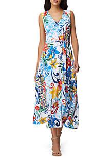 Tahari ASL Sleeveless Pebble Crepe Printed Wrap Dress