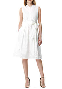 Tahari ASL Sleeveless Cotton Shirt Dress