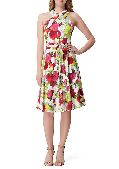 Tahari ASL Halter Floral Fit and Flare Dress