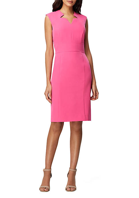 Tahari ASL Sleeveless Shift Crepe Dress