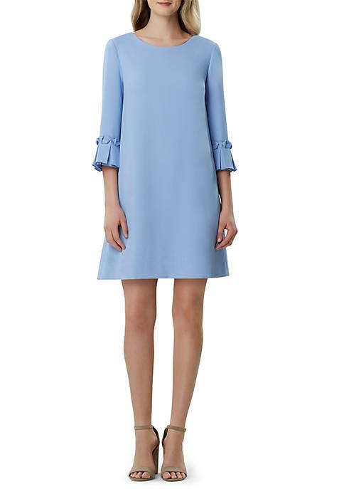 Womens 3/4 Lantern Sleeve Solid Crepe Dress