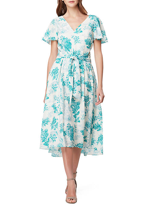 Tahari ASL Short Sleeve Floral Midi Dress