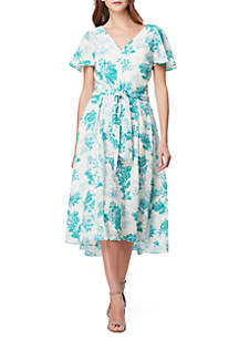 Tahari ASL Short Sleeve Floral Midi Dress