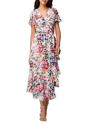 9511a381fa Tahari ASL Printed Ruffle Wrap Midi Dress ...