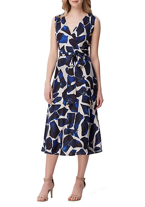 Sleeveless Printed Twill Fit and Flare Dress