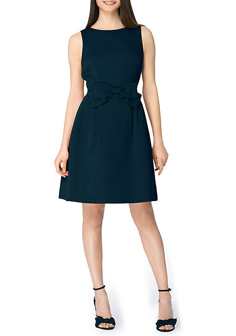 Tahari ASL Sleeveless Front Tie A Line Dress