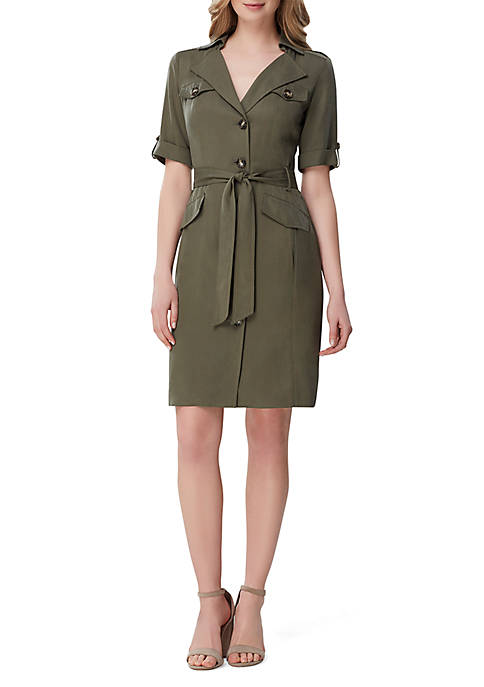 Tahari ASL 3/4 Sleeve Dress with Belt and