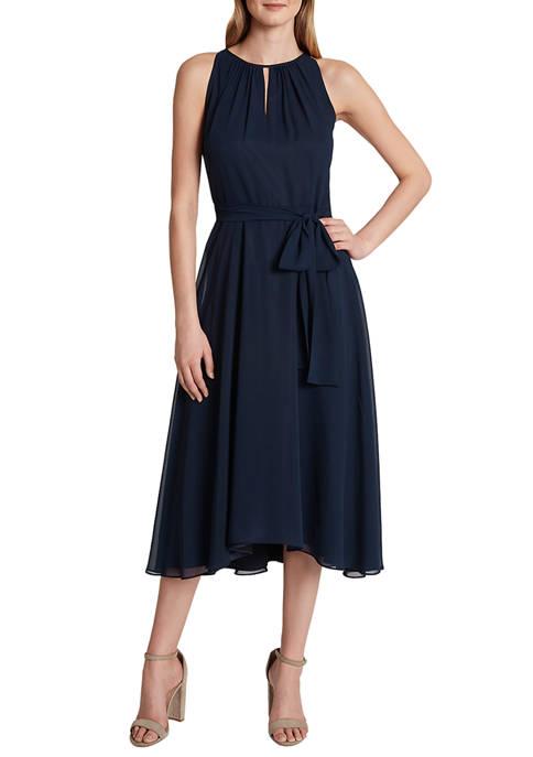 Sleeveless Solid Chiffon Dress with Keyhole Neck