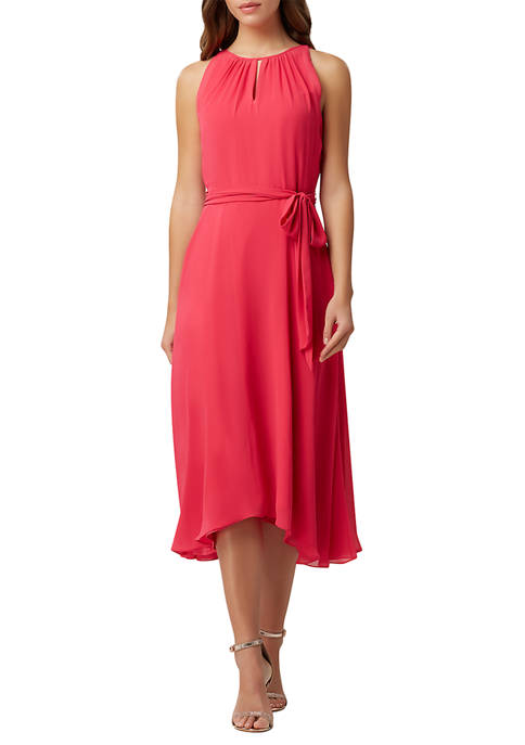 Tahari ASL Sleeveless Solid Chiffon Dress with Keyhole