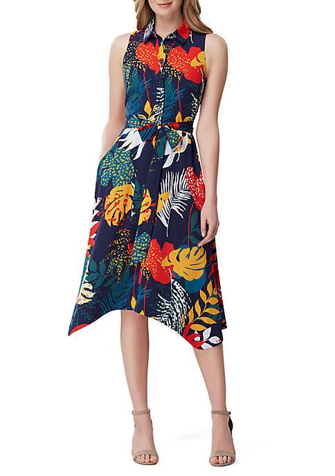 Tahari ASL Sleeveless Printed Gauze Dress with Belt