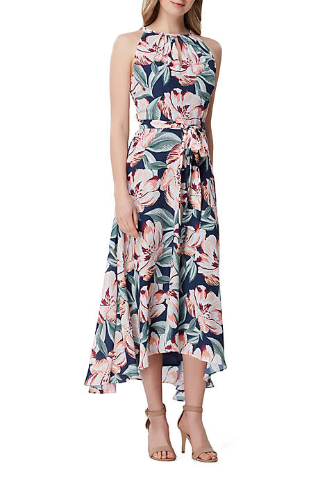 Tahari ASL Sleeveless Floral Georgette A Line Dress