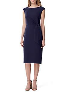 Tahari ASL Cap Sleeve Solid Crepe Dress