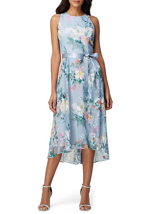 Tahari ASL Sleeveless Printed Mesh Dress