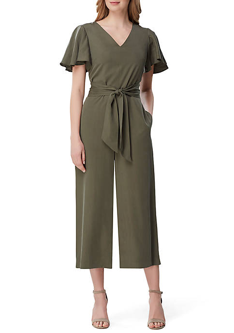 Tahari ASL Short Sleeve V Neck Jumpsuit with
