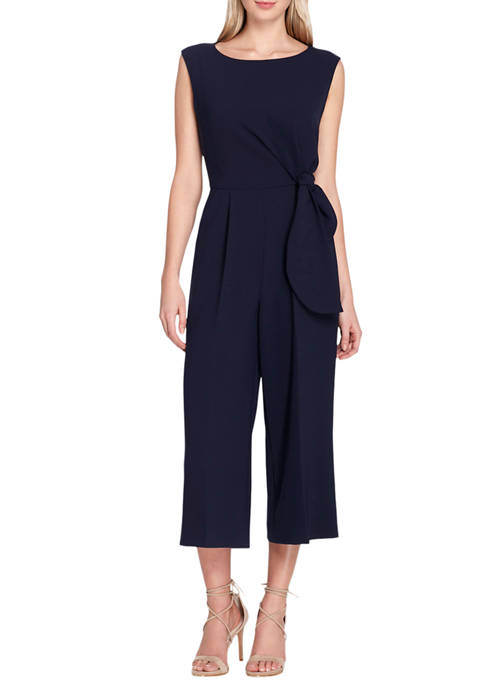 Womens Sleeveless Side Tie Cropped Jumpsuit