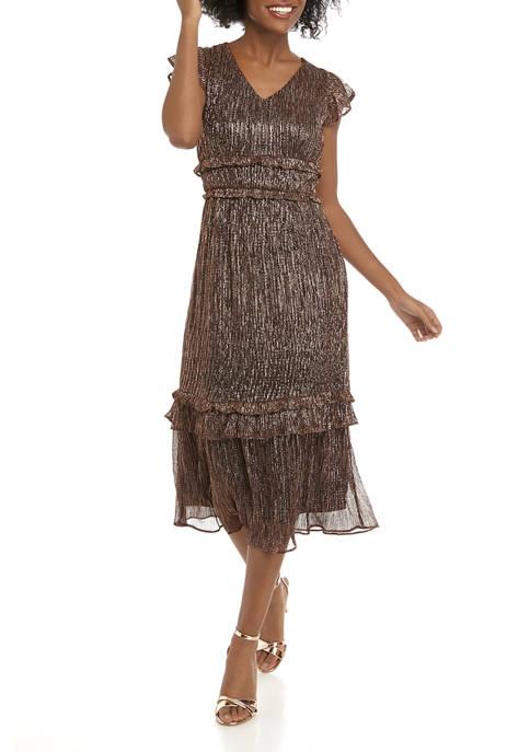 Julia Jordan Womens Short Sleeve Metallic Knit Midi