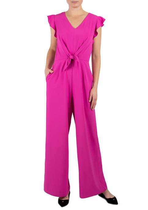 Womens Short Sleeve Tie Front Crepe Jumpsuit