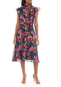 Julia Jordan Floral Chiffon Fit and Flare Dress