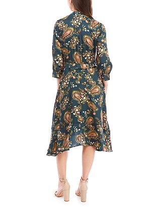 Long Sleeve Tie Neck Printed Chiffon Dress