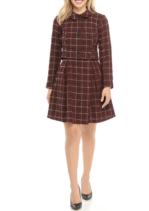 Womens Long Sleeve Tweed Popover Dress with Collar