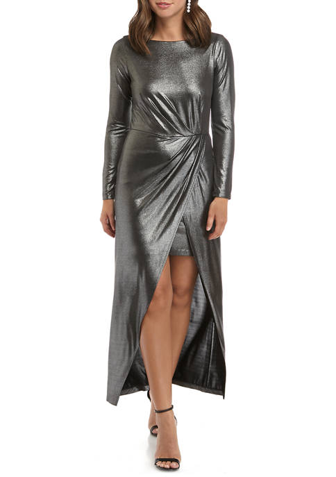 Julia Jordan Womens Metallic Knit Midi Dress with