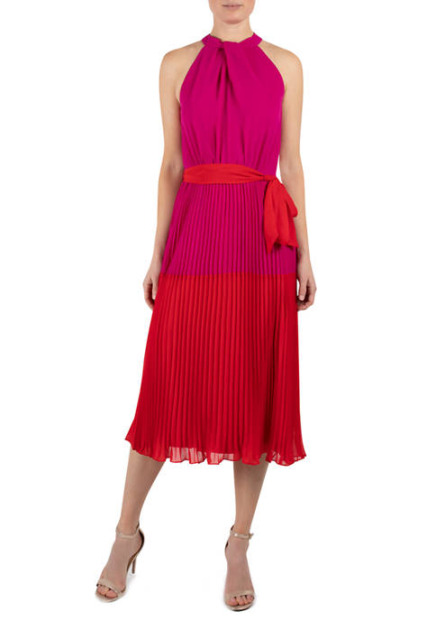 Julia Jordan Womens Halter Neck Pleat Chiffon Color