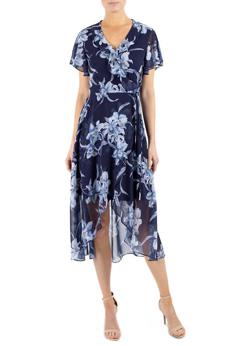 Julia Jordan Womens Short Flutter Sleeve Printed Wrap