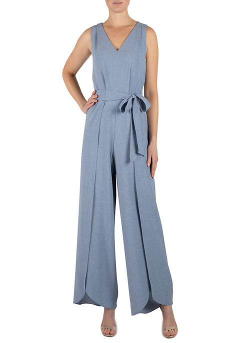 Julia Jordan Womens Sleeveless Flyaway Crepe Jumpsuit