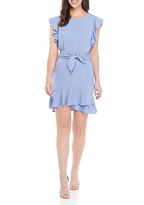 Ruffle Sleeve Belted Peplum Dress