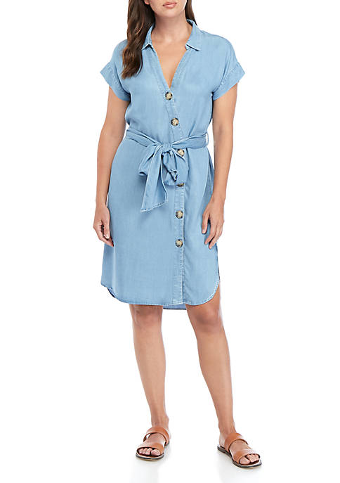 ABS® Allen Schwartz Short sleeve Chambray Button Dress