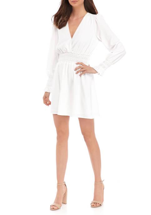 Womens Long Sleeve Smocked Waist Dress