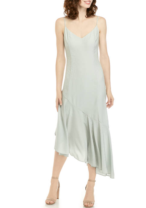 Womens Asymmetrical Ruffle Slip Dress