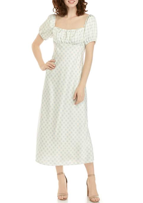 Womens Short Sleeve Ruched Bodice Midi Dress
