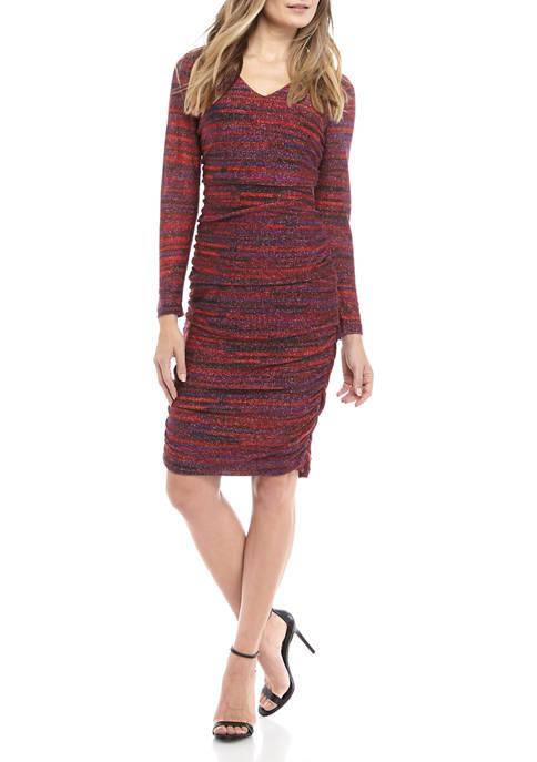 Womens V neck LUREX® Space Dye Dress