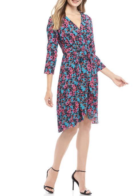 Cheztu Womens Floral Print Wrap Dress