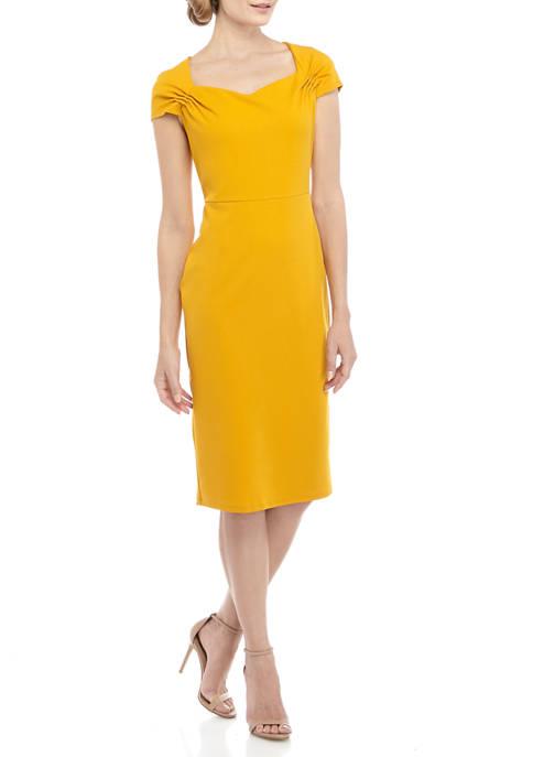 CHEZTU Womens Cap Sleeve Scuba Sheath Dress