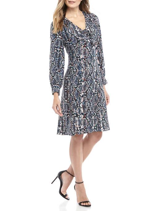 CHEZTU Womens V Neck Snake Print Dress