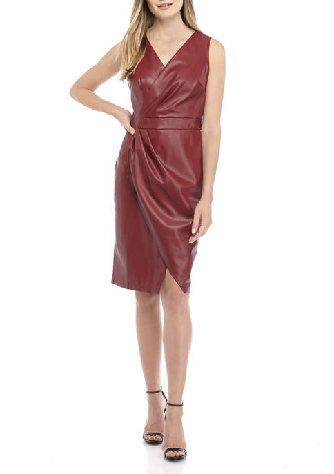 CHEZTU Womens Side Ruched Faux Leather Dress
