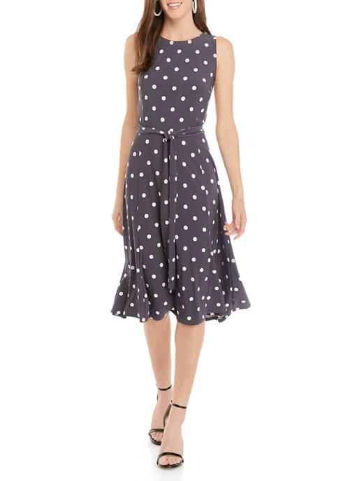 Womens Flora Space Dot Midi Dress