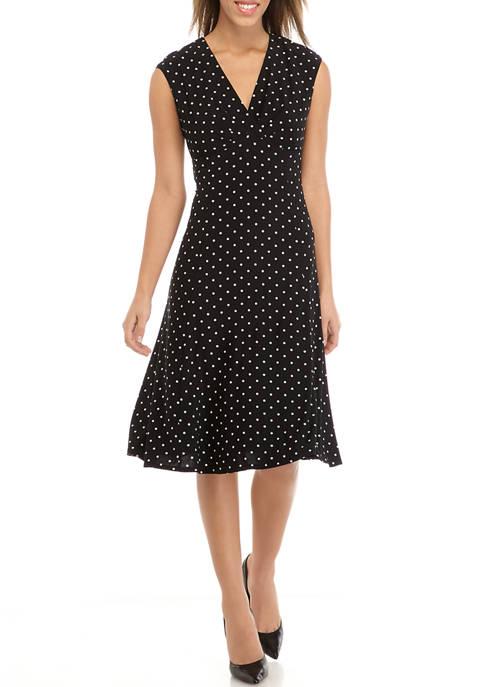 Kasper Womens Cap Sleeve Julie Dot Midi Dress