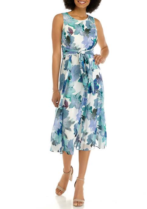 Kasper Womens Sleeveless Chiffon Floral Midi Dress