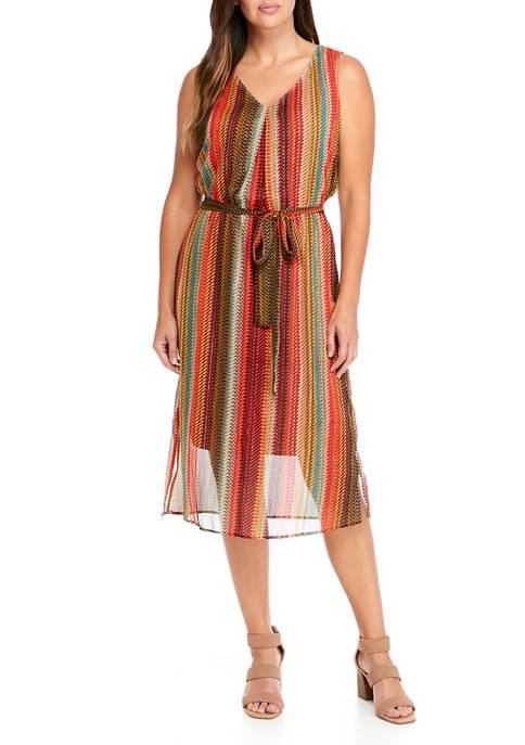 Womens Sleeveless Metallic Chiffon A-Line Dress