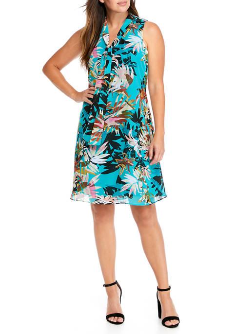 Womens Sleeveless Printed Chiffon Dress with Tie
