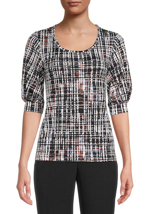 Kasper Womens Halo Crosshatch Printed Top with Puff